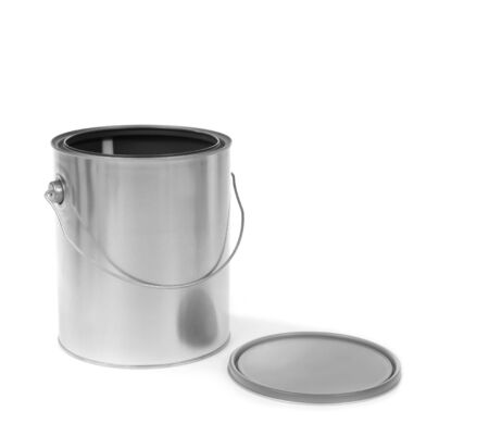 Silver tin paint can opened on a white background Stok Fotoğraf