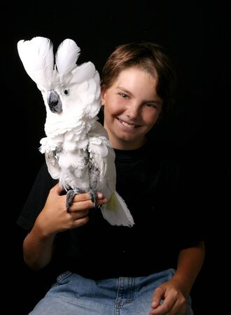 Young Child Holding His Pet Umbrella Cockatoo photo