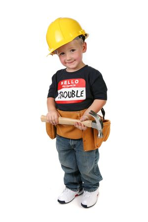 Cute Child Boy Holding Hammer Wearing Toolbelt and Hard Hat