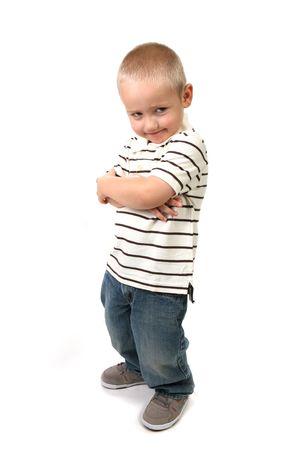 Mischievious Smiling Pouting Boy on White Background Stock Photo - 5128109