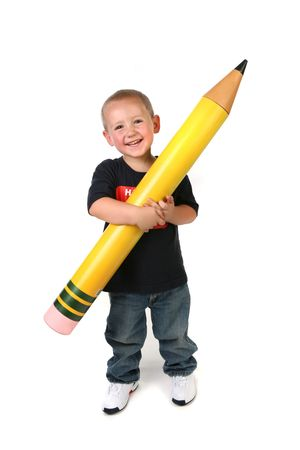grandkids: Happy Young Toddler Schoolage Child Holding Large Pencil
