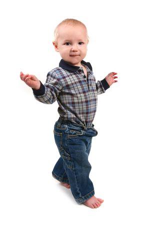 Adorable Toddler Boy Walking Sideways on White Background Stock Photo - 5130250