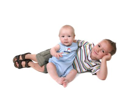 Happy Brothers Interacting Together on a White Background