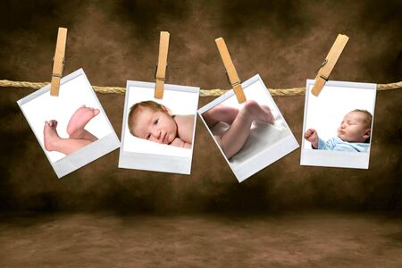 Color Photographs of a Baby Boy Hanging on a Rope