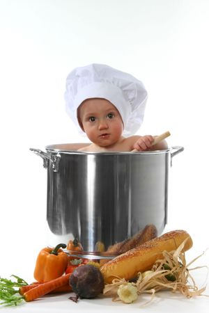 bright eyed: Bright Eyed Baby Chef in a Pot on White Background