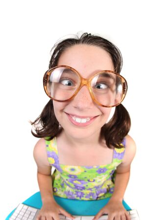 laughable: Funny Child Crossing Her Eyes Wearing Large Eye Glasses