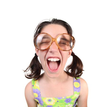 laughable: Funny Girl Wearing Large Eyeglasses Shouting Towards the Viewer