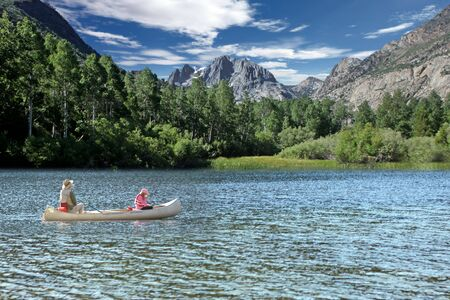 sierra: Father and Daughter Fishing in the Sierra Mountain Lakes Stock Photo