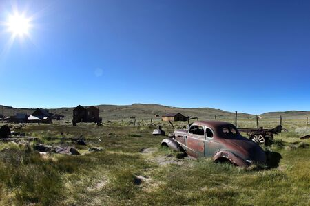 bodie: Old Vintage Rusted Car in Bodie California Stock Photo