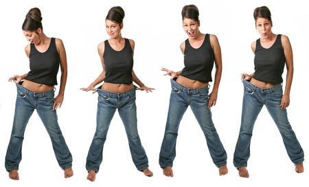 Multiple Views of a Dieting Woman on White Background Stock Photo
