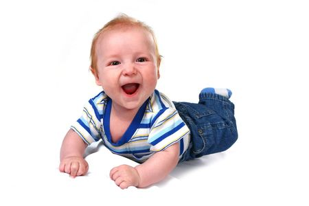 lying on his tummy: Laughing Baby Infant Boy Lying on His Tummy on White Background