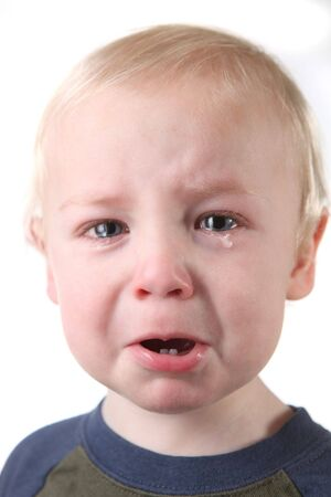 Crying Little Boy on White Background