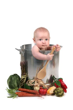 Cute Baby Infant Boy in a Chef Pot Prop on White Background Stock Photo - 5303179