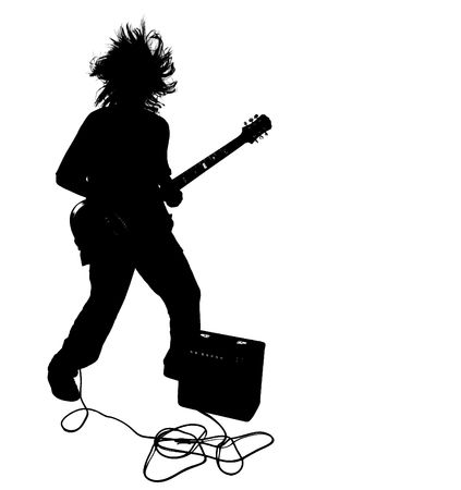 Teenage Boy Silhouette Playing Electric Guitar photo