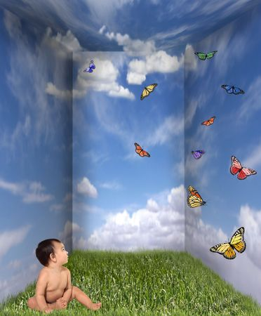 release: Baby Looking up at Butterflies in a Cloud Grass Room
