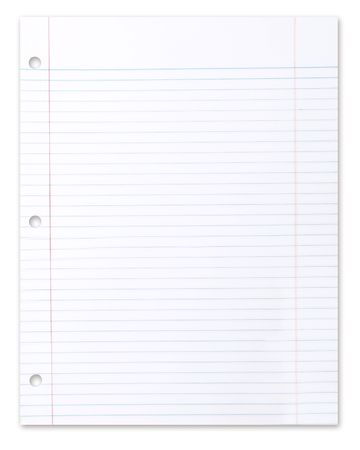 Blank Piece of School Lined Paper on White With a Drop Shadow Stock Photo - 5315800