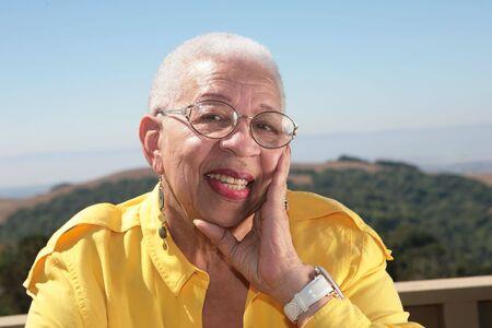 Elderly Happy African American Woman Stok Fotoğraf