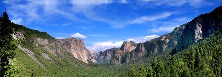 bridalveil fall: Panoramic Shot of Tunnel View In Yosemite National Park Stock Photo