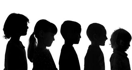 kind silhouet: Vijf Diverse Kinderen Shot in Silhouette Style Stockfoto