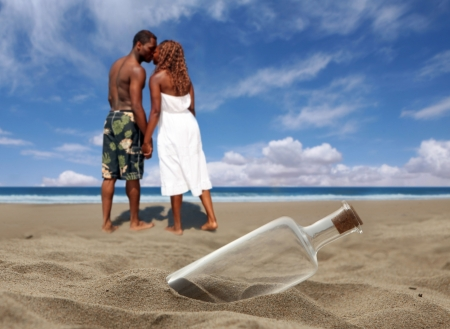 heterosexual couples: Message in a Bottle Washed Ashore a Beach With Cork. Message is Missing.