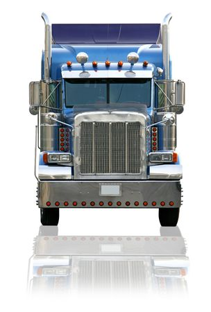 semi trailer: Big Rig Semi Truck Isolated on a White Background With Reflection Shadow Stock Photo