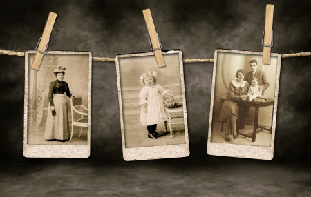 Three Authentic Vintage Family Photographs Hanging on a Rope By Clothespins photo