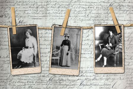 Antique Photographs of 3 Vintage Era Women Hanging on a Rope By Clothespins Stock fotó - 5530674