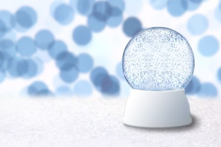 Empty Christmas Snow Globe With Blue Background. Insert Your Own Image or Text photo