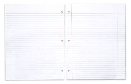 Open Spiral School Notebook With Lined Paper on White Background Stock Photo - 5575382