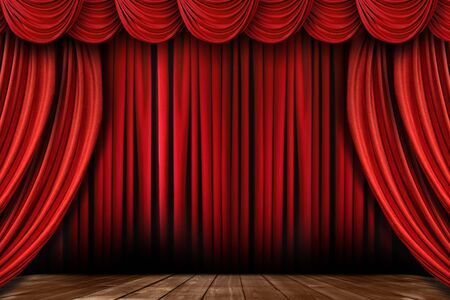 Dramatic Bright Red Stage Drapes With Many Swags Stock Photo - 5575371