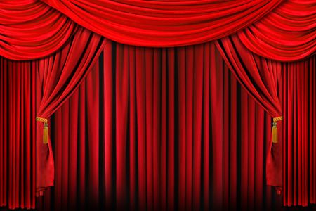 Curtains from a Stage in Bright Red Dramatic Lighting photo