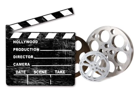 Canister: Hollywood FIlm Canisters Isolated on White With Directors Clapboard
