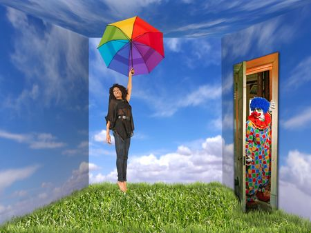 A young woman holds a rainbow umbrella. She is in a room that is painted like an outdoor landscape and a clown is at the door. They are both full length viewable and looking away from the camera. Horizontally framed shot. Imagens