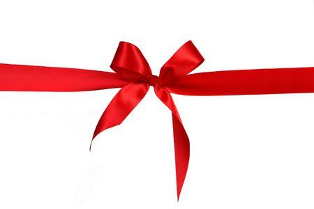 Red cadeau lint Bow in horizontale positie boven de witte achtergrond alleenstaande eenvoudig voor uw project