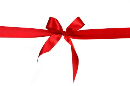red retail: Red Gift Ribbon Bow in Horizontal Placement Over White Background Easily Isolated for Your Project