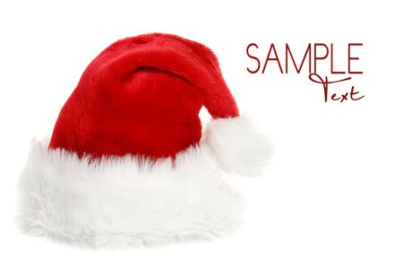 santa clause hat: Santa Clause Hat With Copyspace on White Background Stock Photo