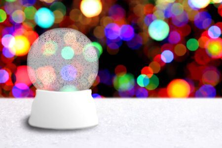 Empty Christmas Snow Globe With Holiday Background. Insert Your Own Image or Text