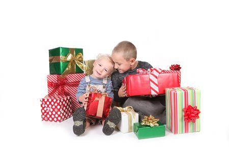 christmasy: Two Happy Children Enjoying Christmas Gifts