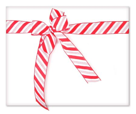 wrapped present: Candy Cane Ribbon Wrapped Present Stock Photo