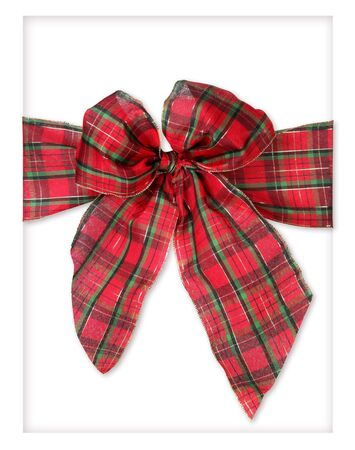 Large Plaid Christmas Bow on White