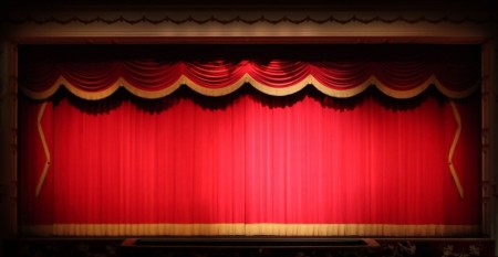Real Stage Theater Drape Background  With Yellow Vintage Trim. Image Has SLight Noise Due to Lighting Conditions.