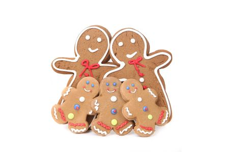 gingerbread: Family of 5 Gingerbread People With Mom, Dad and 3 Children