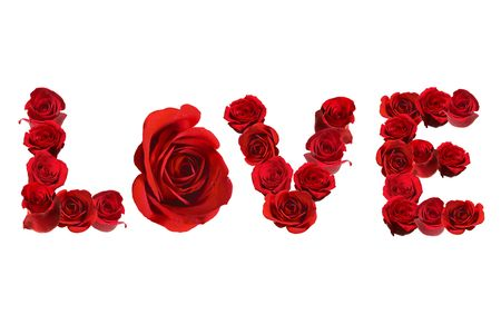 The Word LOVE Spelled With Isolated Red Roses on White Background Perfect for Valentines Day photo