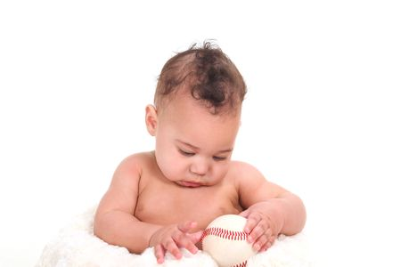 Curious Infant Boy Gazing at a Baseball on White Background Stock Photo - 6836593