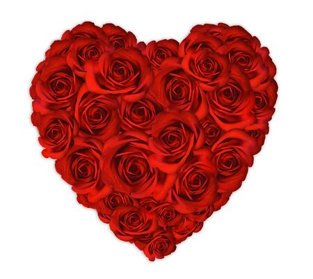 Verjaardag of Valentine Heart Made buiten de rozen op witte achtergrond Stockfoto