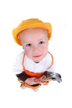 Top Fisheye View of a Little Ouvrier sur fond blanc Banque d'images