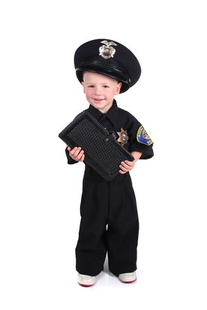 children at play: Police Officer Holding a Ticket Book on White Background