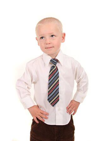 little business man: Little Man de Business Looking Up con manos sobre sus Hips Foto de archivo