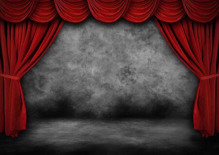 terciopelo rojo: Escenario de teatro de grunge con terciopelo rojo caen y pintado Backdrop