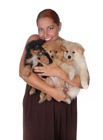 Woman Holding 3 Pomeranian Puppies on White Background photo